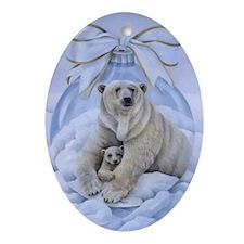 Polar Bears Oval Ornament