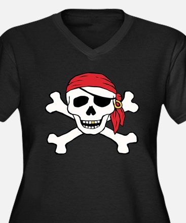 Funny Pirate Women's Plus Size V-Neck Dark T-Shirt