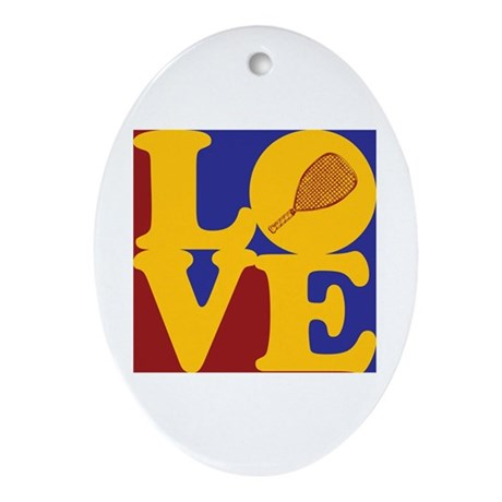 Racquetball Love Oval Ornament
