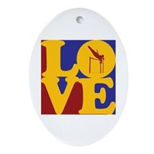 Pole Vaulting Love Oval Ornament