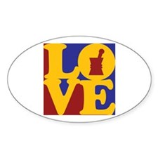 Pharmacology Love Oval Decal