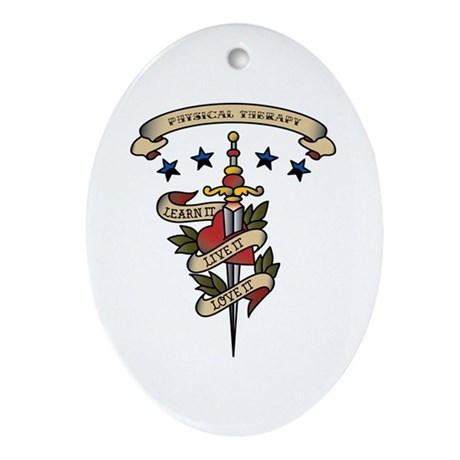 Love Physical Therapy Oval Ornament