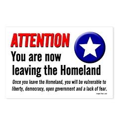 Eight leaving the Homeland postcards