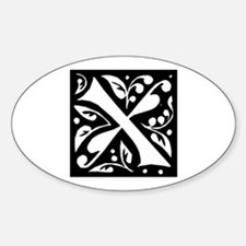 Art Nouveau Initial X Oval Decal
