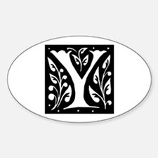 Art Nouveau Initial Y Oval Decal
