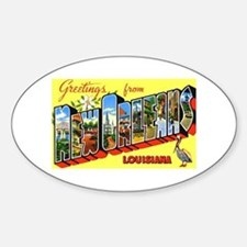 New Orleans Louisiana Greetings Oval Decal