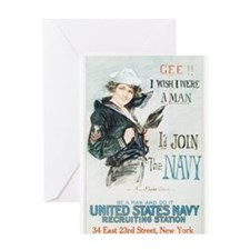 Vintage Navy Girl Greeting Card