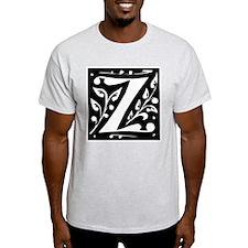 Art Nouveau Initial Z Ash Grey T-Shirt
