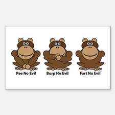 No Evil Monkeys Rectangle Decal