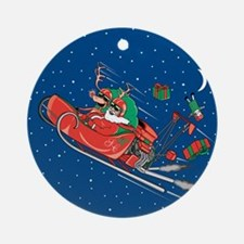 Hot Rod Santa Christmas Ornament (Round)