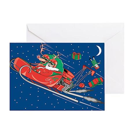 Hot Rod Santa Christmas Greeting Card