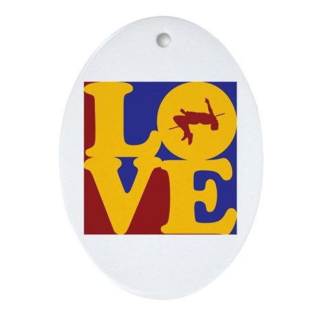 High Jumping Love Oval Ornament