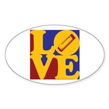 Harmonica Love Oval Decal