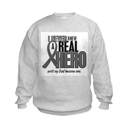 Never Knew A Hero 2 Grey Ribbon Dad Kids Sweatshir