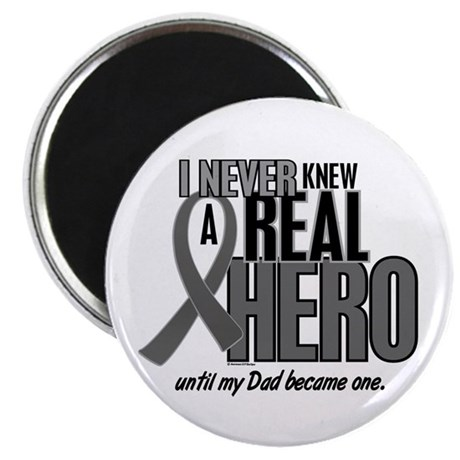 Never Knew A Hero 2 Grey Ribbon Dad Magnet