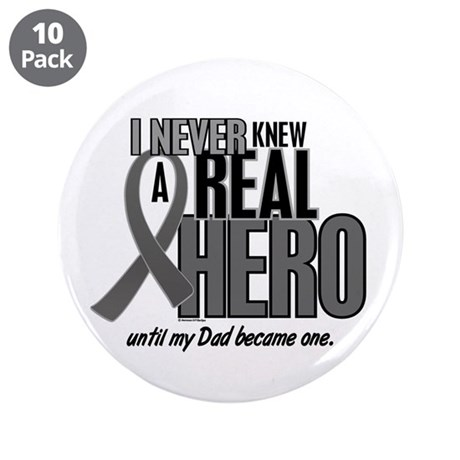 """Never Knew A Hero 2 Grey Ribbon Dad 3.5"""" Button (1"""