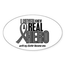 Never Knew A Hero 2 Grey Ribbon Sister Decal