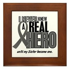 Never Knew A Hero 2 Grey Ribbon Sister Framed Tile