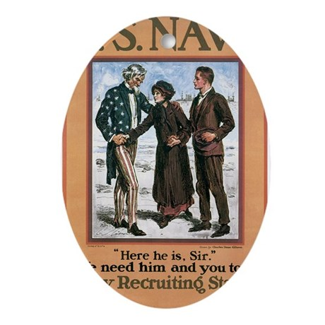 1917 US Navy Poster Oval Ornament