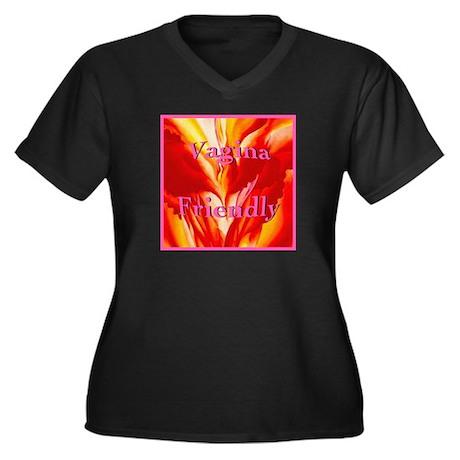 Vagina Friendly Plus Size V-Neck Dark T-Shirt