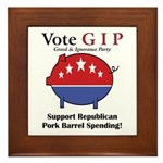 Pork Barrel Pig Framed Tile