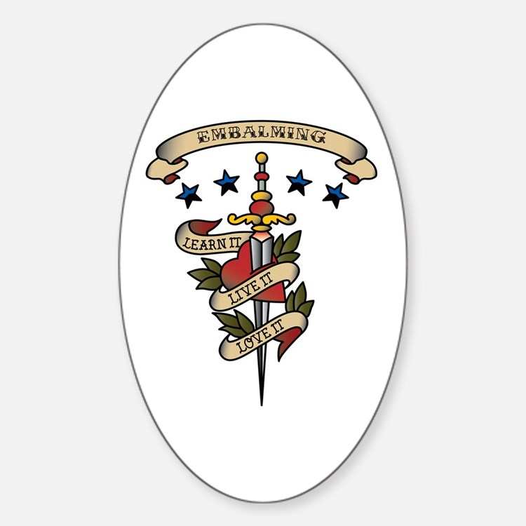 Love Embalming Oval Decal