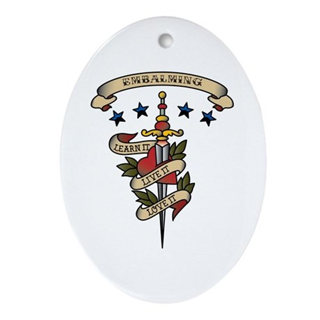 Love Embalming Oval Ornament