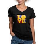 Canoeing Love Women's V-Neck Dark T-Shirt
