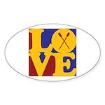 Canoeing Love Oval Sticker (50 pk)