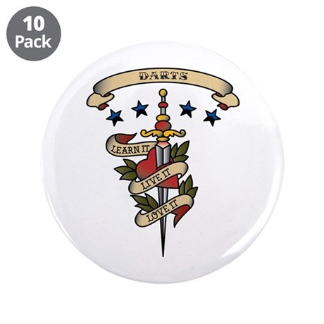 "Love Darts 3.5"" Button (10 pack)"