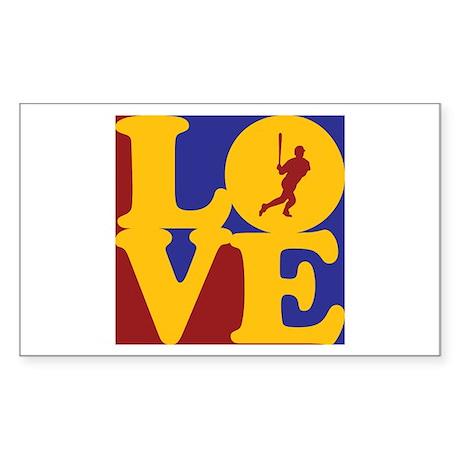 Baseball Love Rectangle Sticker 10 pk)