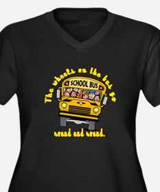 School Bus Kids Women's Plus Size V-Neck Dark T-Sh