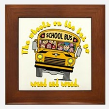 School Bus Kids Framed Tile