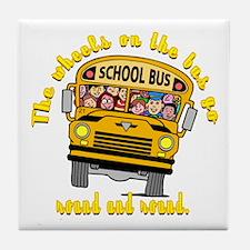 School Bus Kids Tile Coaster