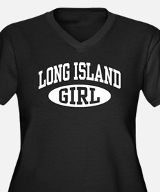 Long Island Girl Women's Plus Size V-Neck Dark T-S