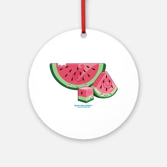 Kawaii Watermelon Trio Ornament (Round)
