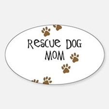 Rescue Dog Mom Oval Decal