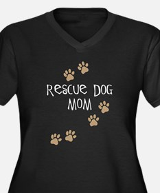 Rescue Dog Mom Women's Plus Size V-Neck Dark T-Shi