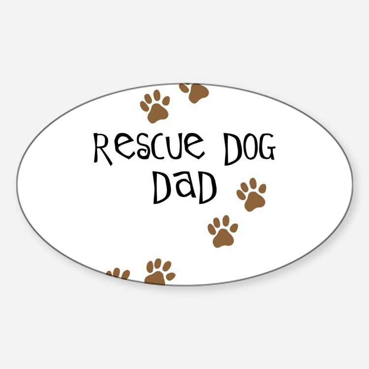Rescue Dog Dad Oval Decal