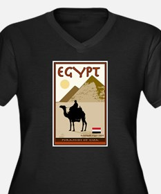 Egypt Women's Plus Size V-Neck Dark T-Shirt