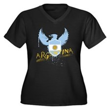 Argentina Winged Women's Plus Size V-Neck Dark T-S