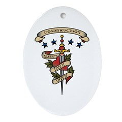 Love Construction Oval Ornament