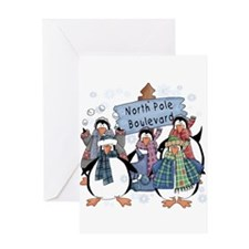 North Pole Penguins Greeting Card
