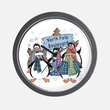 North Pole Penguins Wall Clock