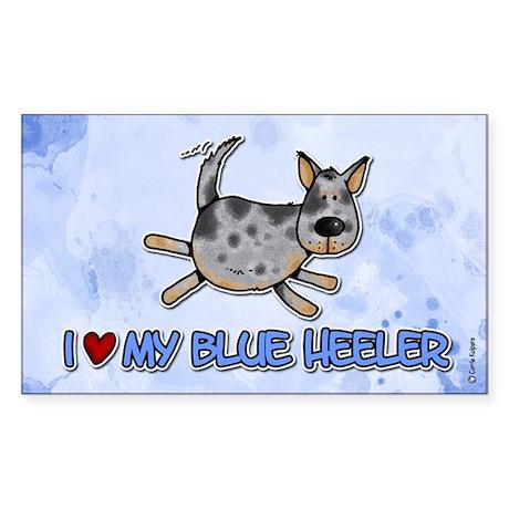 i love my blue heeler Rectangle Sticker
