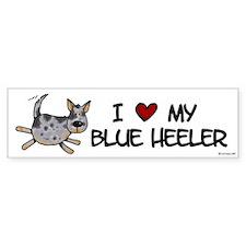 i love my blue heeler Bumper Car Sticker