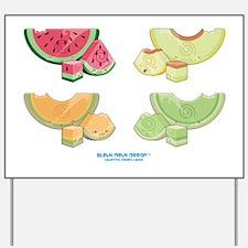 Kawaii Summer Melons Group Yard Sign