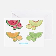 Kawaii Summer Melons Group Greeting Card