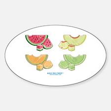 Kawaii Summer Melons Group Oval Decal