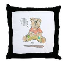 Crayon tennis bear Throw Pillow